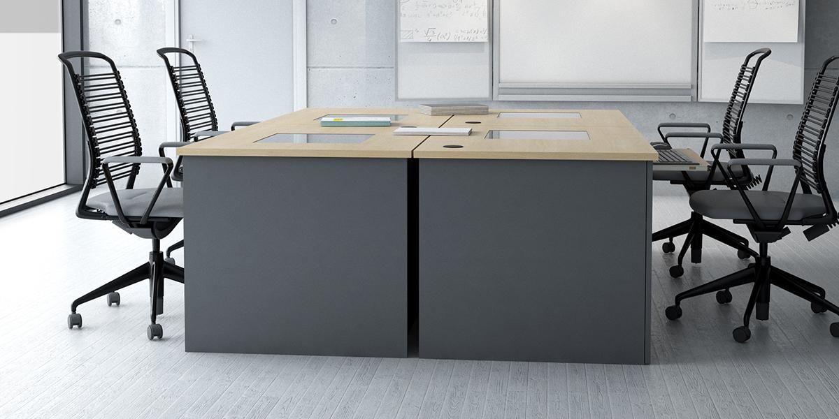 Table informatique MBA production écran sous vitre sur-mesure
